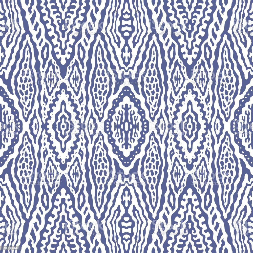 Abstract hand drawn geometrical seamless Ikat pattern from decorative ethnic ornament, Indigo blue and white background. Batik, wallpaper, wrapping paper, shibori ornament, tie dye textile print, cotton royalty-free abstract hand drawn geometrical seamless ikat pattern from decorative ethnic ornament indigo blue and white background batik wallpaper wrapping paper shibori ornament tie dye textile print cotton stock vector art & more images of backgrounds