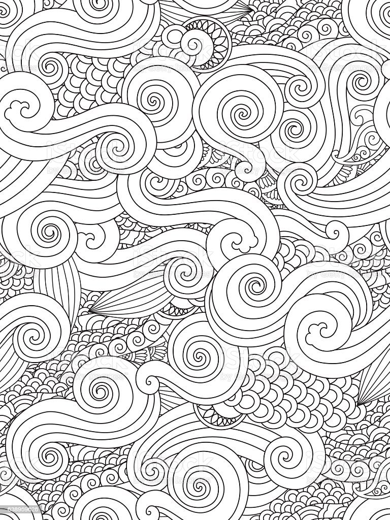 Abstract hand drawn outline wave curl seamless pattern in east vector art illustration