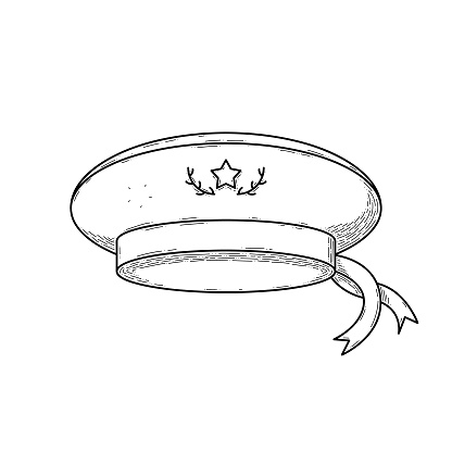 Abstract Hand Drawn Peakless Cap Hat Clothing For Man And Woman Doodle Headdress Wear Concept Vector Design Outline Style On White Background Isolated