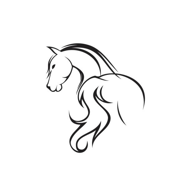 Abstract Hand Drawn Silhouette Back Horse With Head Turned Vector Art Illustration
