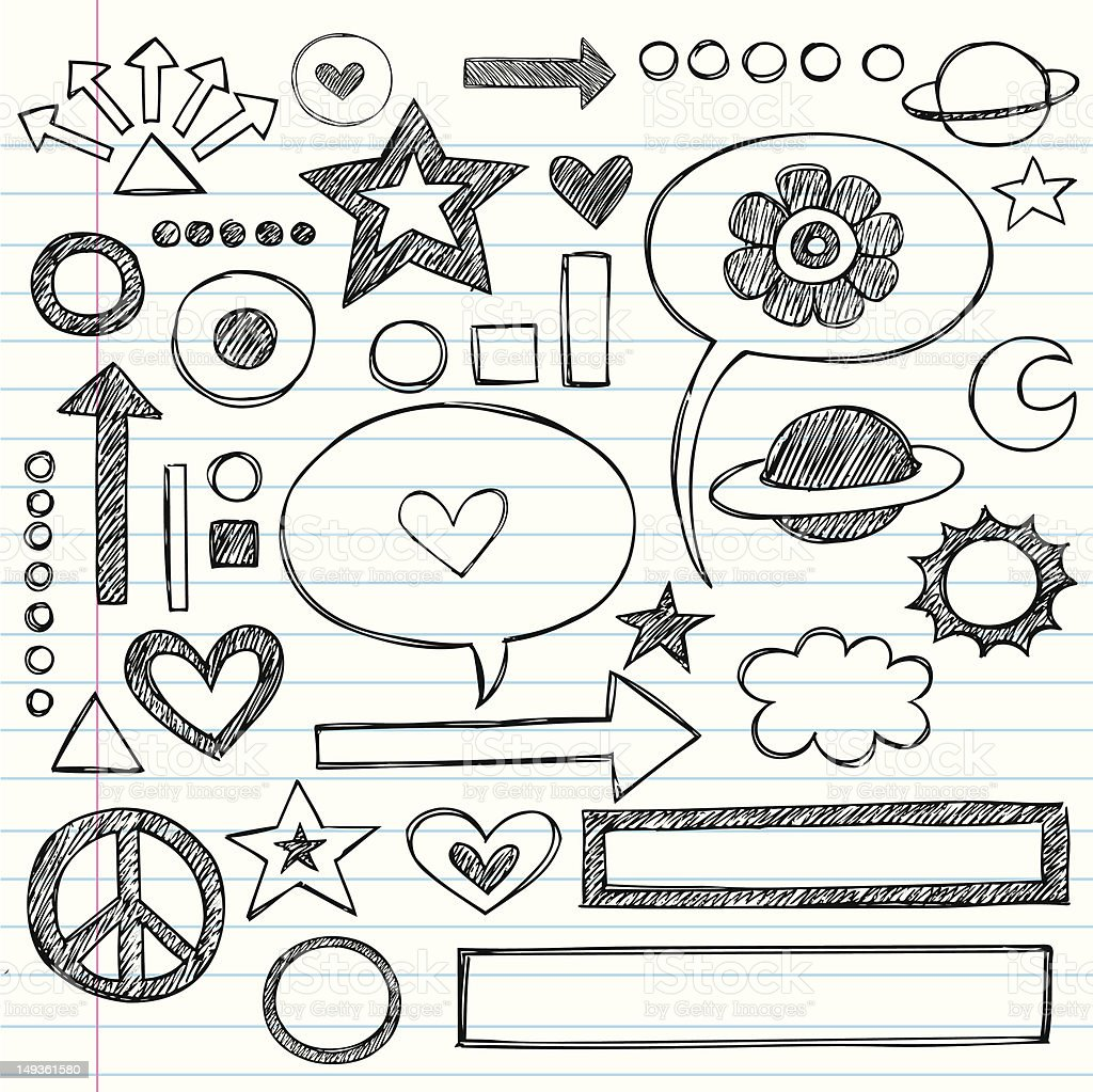 Abstract hand drawn teen doodles on notebook paper vector art illustration