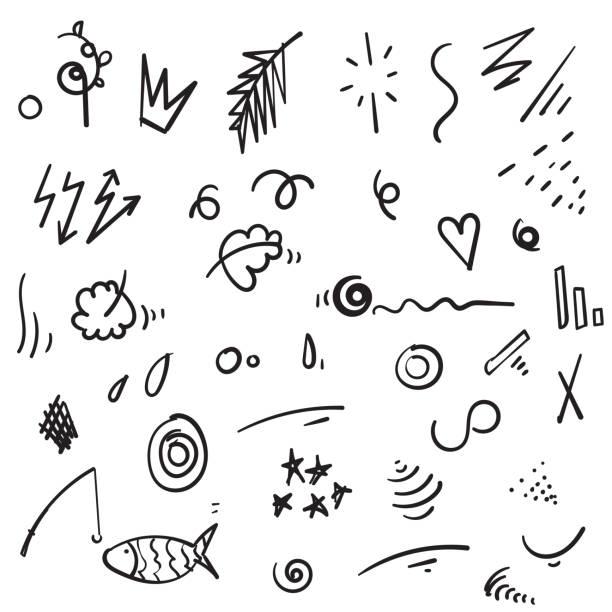 stockillustraties, clipart, cartoons en iconen met abstracte hand getekende vector symbolen instellen. harten, cirkels, doodles pack met geometrische vormen en marker scribbles, inkt, potlood, borstel smears. spot, kruis, pijl, leaf doodle cartoon - bloemen storm