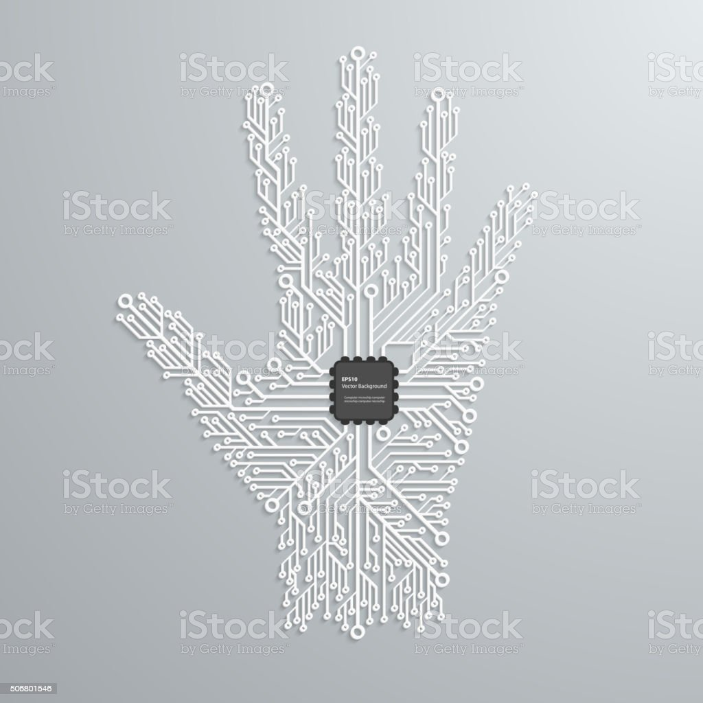 Abstract hand in an electronic circuit chip. Design elements. vector art illustration
