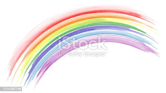 istock Abstract hand painted rainbow watercolor 1214262748