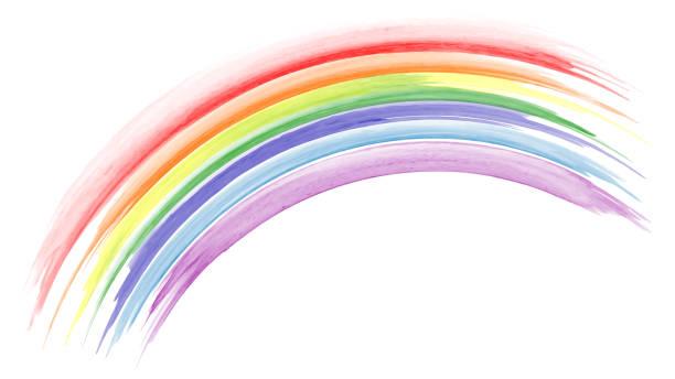 ilustrações, clipart, desenhos animados e ícones de aquarela de arco-íris pintada à mão abstrata - arco íris