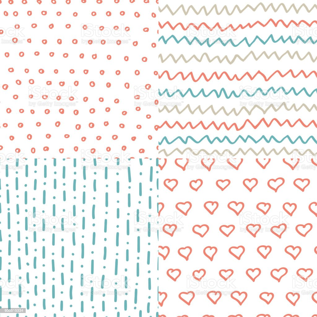 Abstract Handdrawn Seamless Patterns Set Simple Texture For