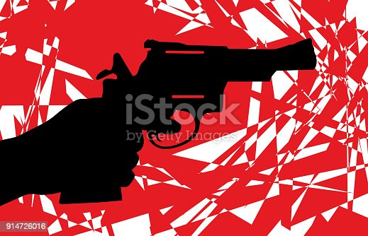 Vector illustration of a red and white abstract handgun icon.