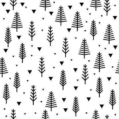 Abstract handmade monochrome seamless pattern background.