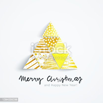 istock Abstract hand-painted Christmas tree with patterns - vector illustration with handwritten text Merry Christmas - Holiday Card with unique 3D effect in shades of gold with dots lines stars and paint traces 1284035256