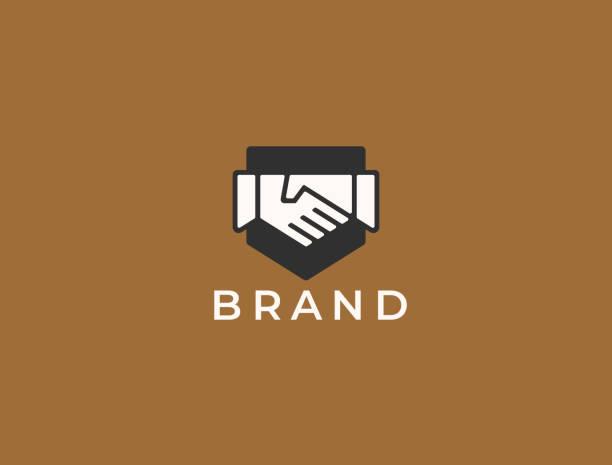 abstract handshake business-logo, vektorlogo. zwei hände machen einen deal auf dem schildhintergrund. vertrauen, freundschaft, partnerschaft, vereinbarung, geschäft, erfolg, geld, deal, vertrag, team, symbolsymbol. - trust stock-grafiken, -clipart, -cartoons und -symbole