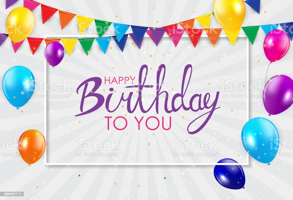 Abstract Happy Birthday Background Card Template Vector Illustration...