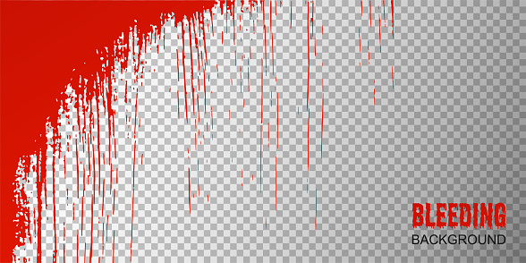 Abstract Happy Halloween background with red blood drops on  transparent texture. Bleeding effect on white glass window. Vector illustration