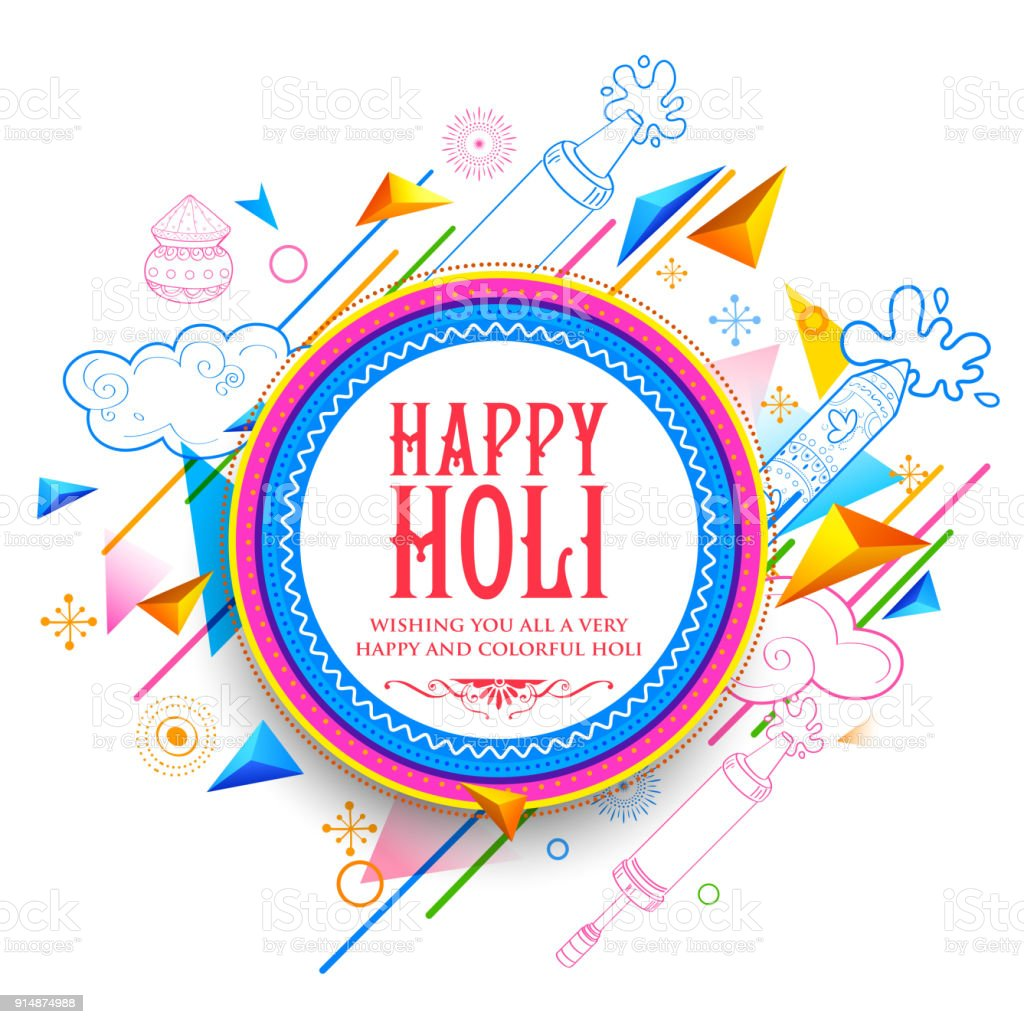 Abstract Happy Holi Background For Festival Of Colors Celebration