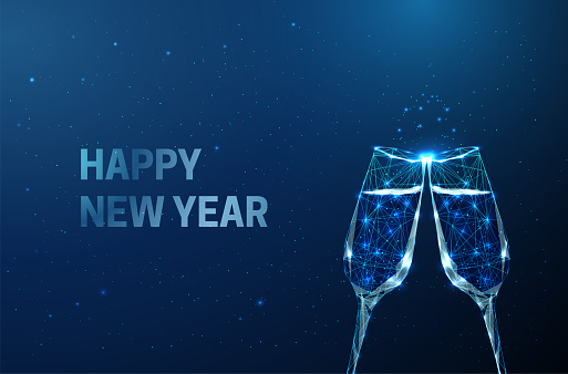 Abstract New Year greeting card with clink glasses. Low poly style design. Abstract geometric background. Wireframe light connection structure. Modern 3d graphic concept. Isolated vector illustration.