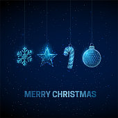 istock Abstract Happy New Year greeting card with hanging Christmas toys. 1285825813