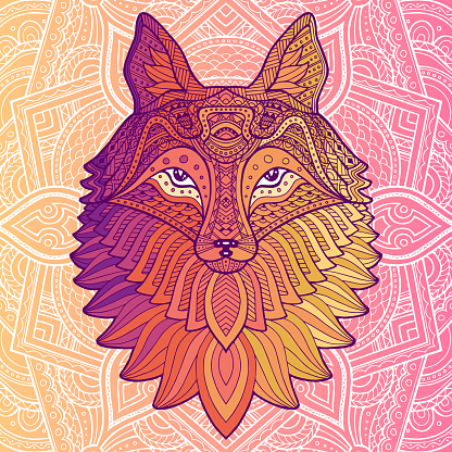 Abstract head fox hand draw. Fox animal face. Vector cute red head. Realistic winter fur red wild animal portrait on orange background. Fox face vector isolated flat illustration.