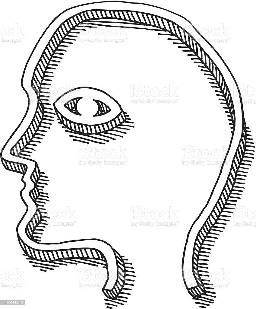 Abstract Head Profile Eye Drawing royalty-free stock vector art