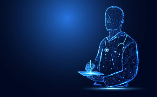 抽象健康醫學包括醫生數位線框概念現代醫學技術、治療、灰色背景醫學。 - 健康科技 幅插畫檔、美工圖案、卡通及圖標