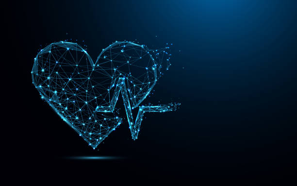 illustrazioni stock, clip art, cartoni animati e icone di tendenza di abstract heart beat form lines and triangles, point connecting network on blue background. illustration vector - elettrocardiogramma