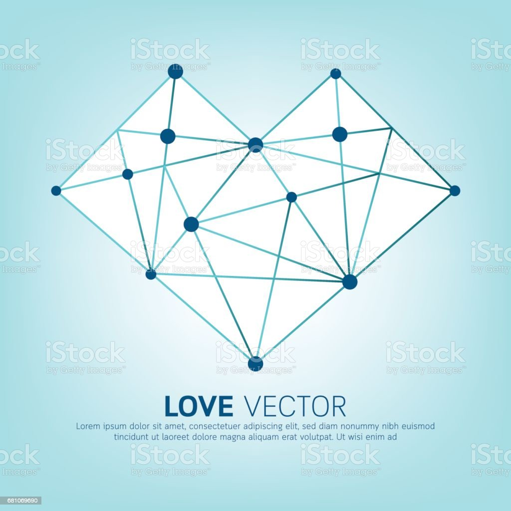 Abstract heart polygon lines background. royalty-free abstract heart polygon lines background stock vector art & more images of abstract