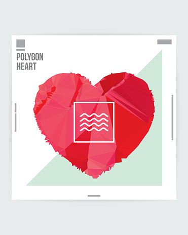 Abstract Heart Shape Graphic Design Poster Layout Template