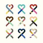 Abstract heart shaped awareness ribbons