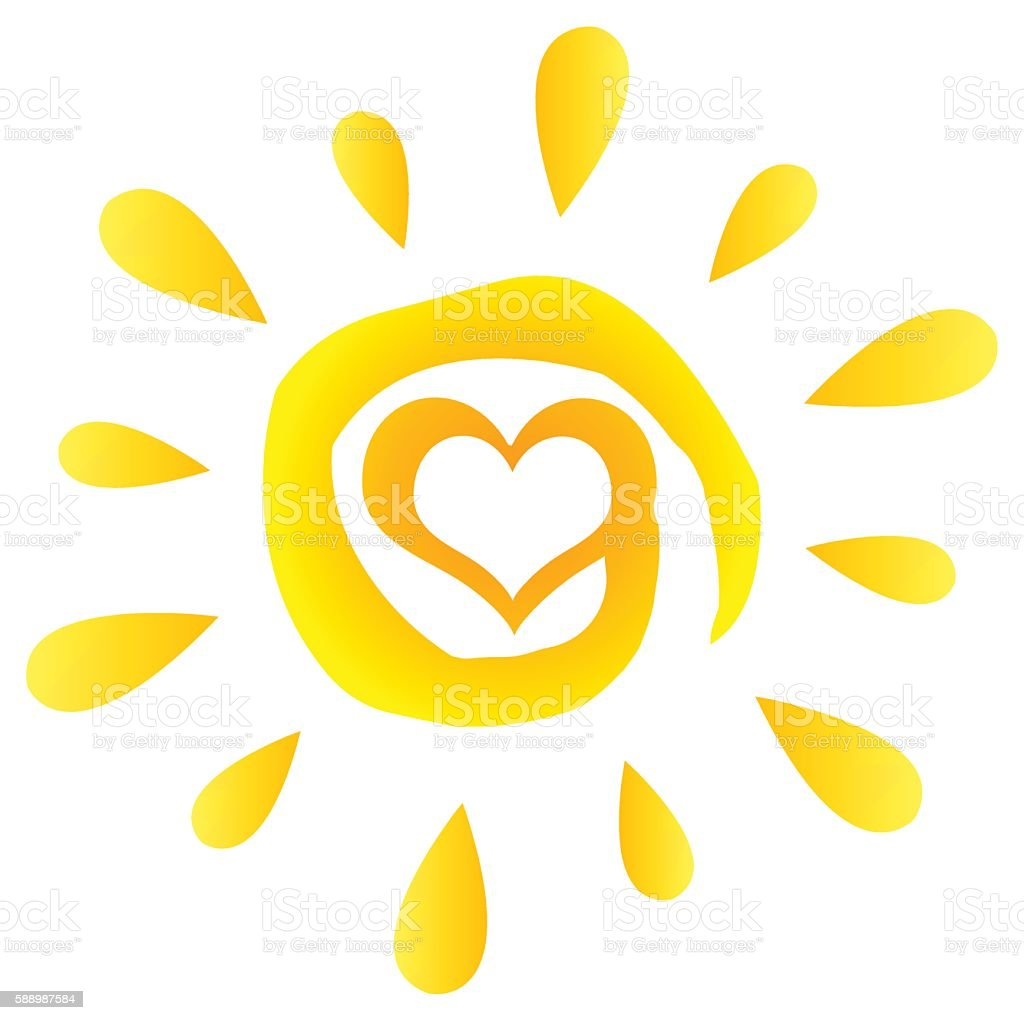 abstract heart sun silhouette with gradient stock vector art more rh istockphoto com Free Vector Feather Sunshine Vector Free