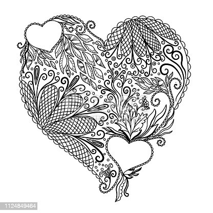 Vector illustration of abstract heart on white background.You can design cards, notebook cover and so on. Heart shape with place for your text. Valentine's day background.