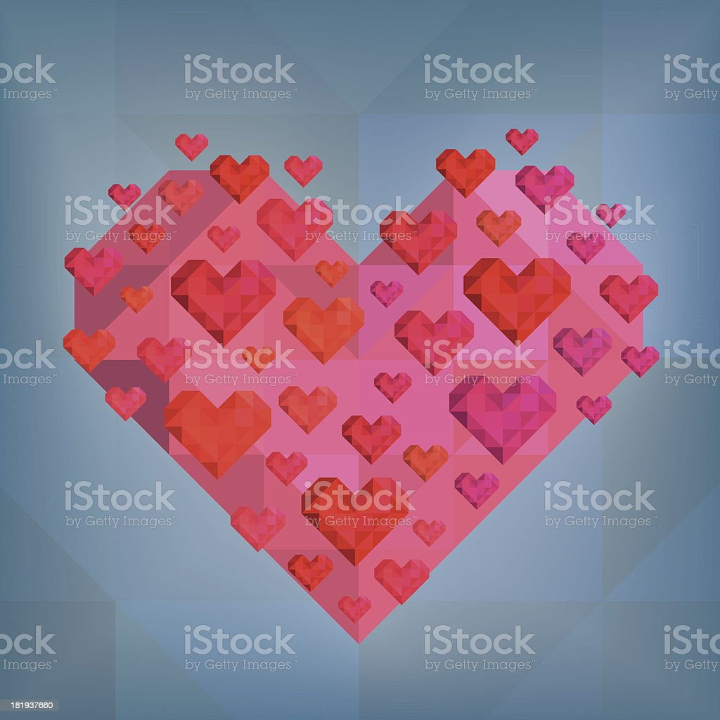 Abstract Hearts On Blue Background royalty-free stock vector art