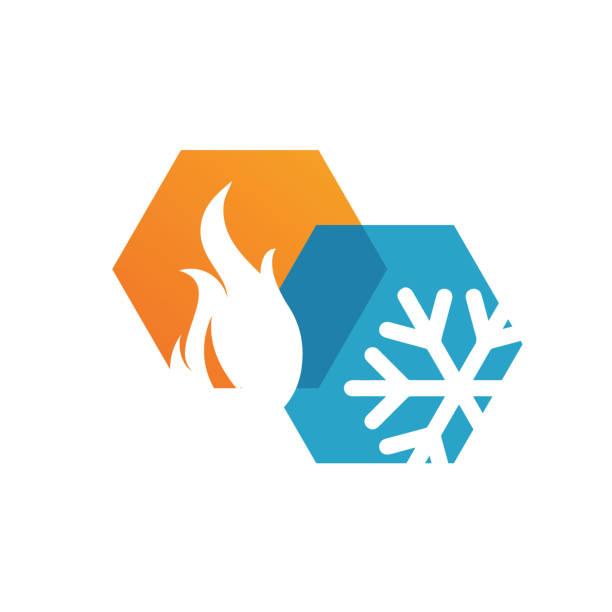 illustrations, cliparts, dessins animés et icônes de le chauffage abstrait et le refroidissement de logo d'hvac projetant l'entreprise d'affaires de vecteur - chaleur