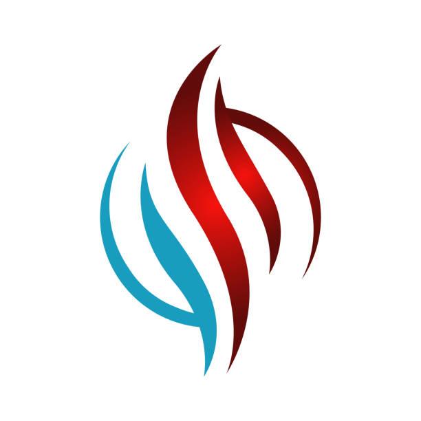 abstrakte heizung und kühlung hvac logo design vektor unternehmen - wärme stock-grafiken, -clipart, -cartoons und -symbole
