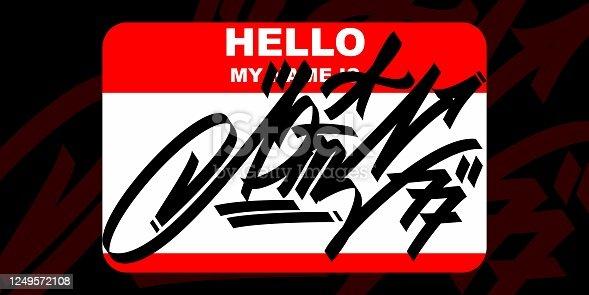 istock Abstract Hello My Name Is Graffiti Style Sticker Vector Illustration 1249572108