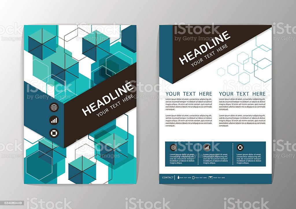 Abstract Hexagon Geometric Brochure Template Flyer Layout Vector