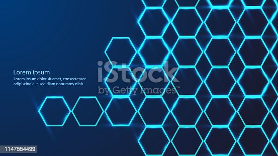 Abstract hexagon pattern molecular sci fi scientific innovation concept background