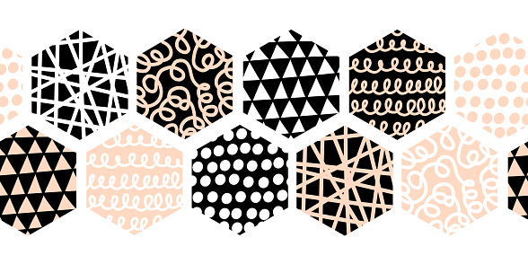 Abstract Hexagon Seamless border vector. Geometric Black White Pink Honeycomb Shapes. Stylish Tiles with different doodle textures. Monochrome modern hipster banner, footer, header, divider, decor.