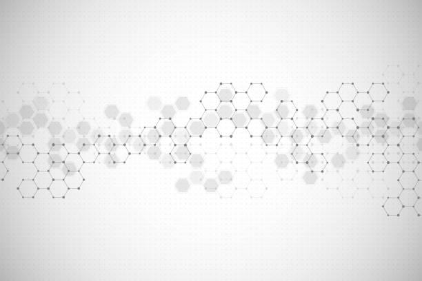 illustrazioni stock, clip art, cartoni animati e icone di tendenza di abstract hexagonal background. medical, scientific or technological concept. geometric polygonal graphics. vector illustration - chimica