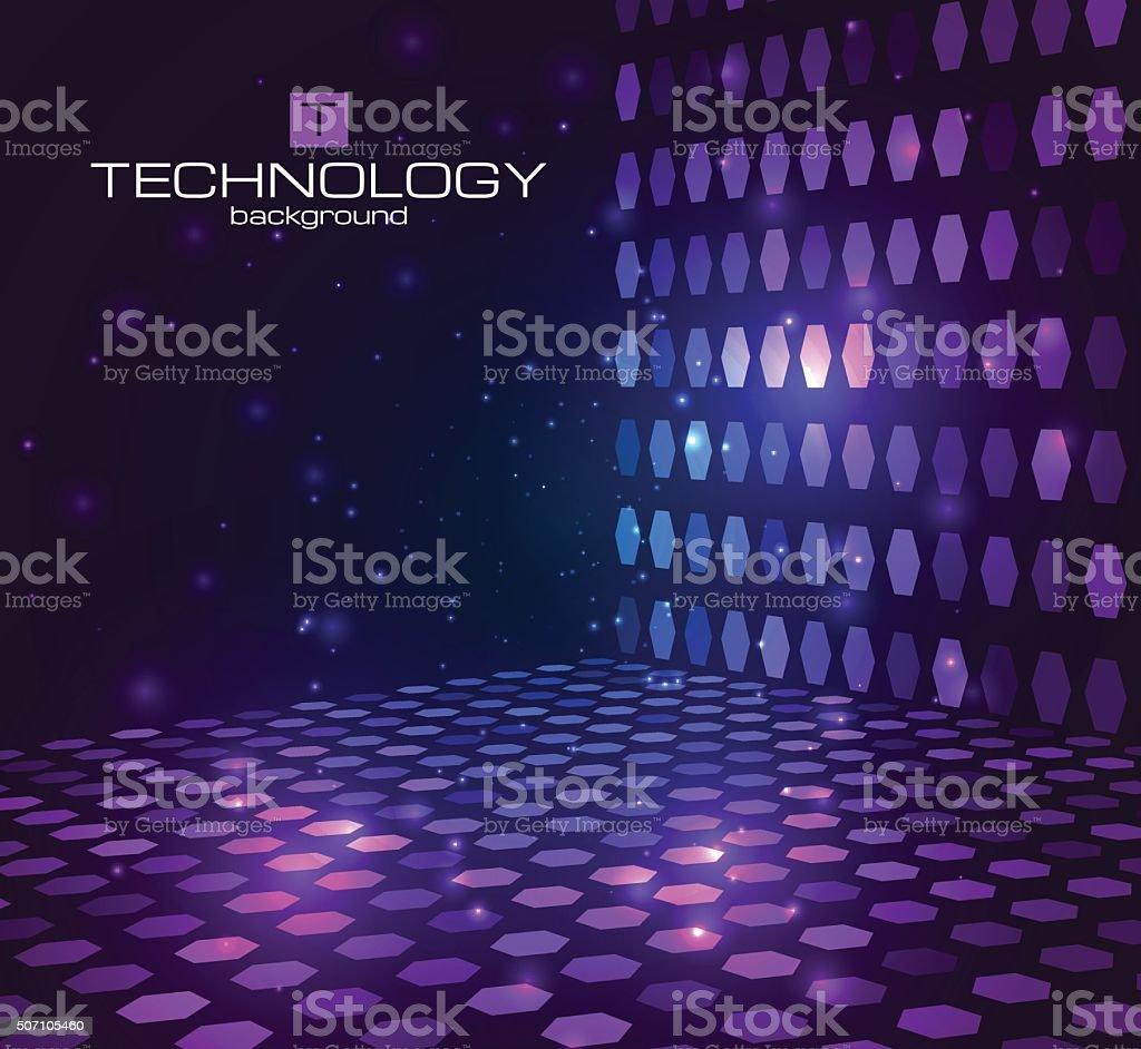 Abstract hexagonal background. Retro disco stage vector art illustration