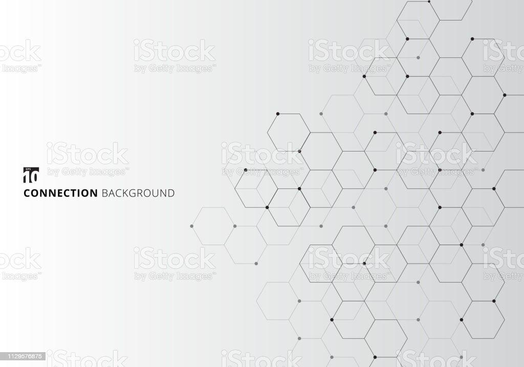 Abstrakta hexagoner med noder digital geometriska med svarta linjer och prickar på vit bakgrund. Teknik anslutning koncept - Royaltyfri Abstrakt vektorgrafik