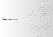 Abstract hexagons with nodes digital geometric with black lines and dots on white background. Technology connection concept. Vector illustration