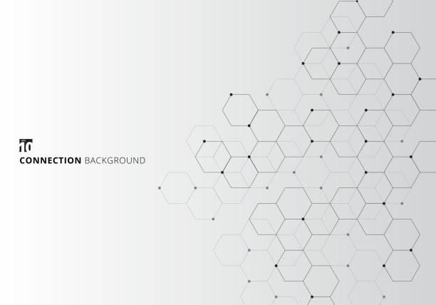 ilustraciones, imágenes clip art, dibujos animados e iconos de stock de resumen hexágonos con nodos digital geométrica con puntos sobre fondo blanco y líneas negras. concepto de conexión de la tecnología - química