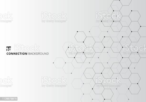 Abstrakta Hexagoner Med Noder Digital Geometriska Med Svarta Linjer Och Prickar På Vit Bakgrund Teknik Anslutning Koncept-vektorgrafik och fler bilder på Abstrakt