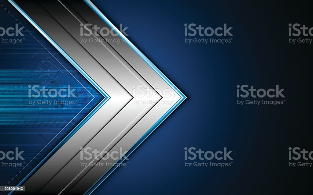 abstract hi tech metallic arrow frame layout design concept background vector art illustration