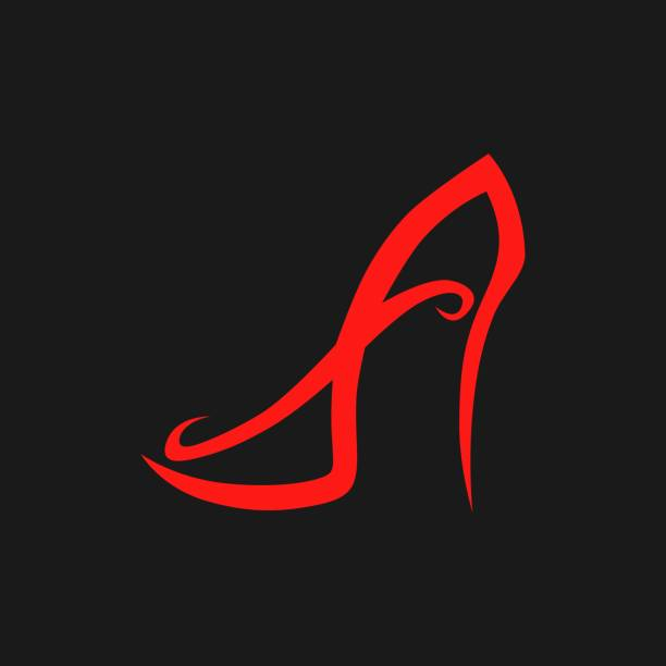 abstract high heel shoe symbol, icon. - wysokie obcasy stock illustrations