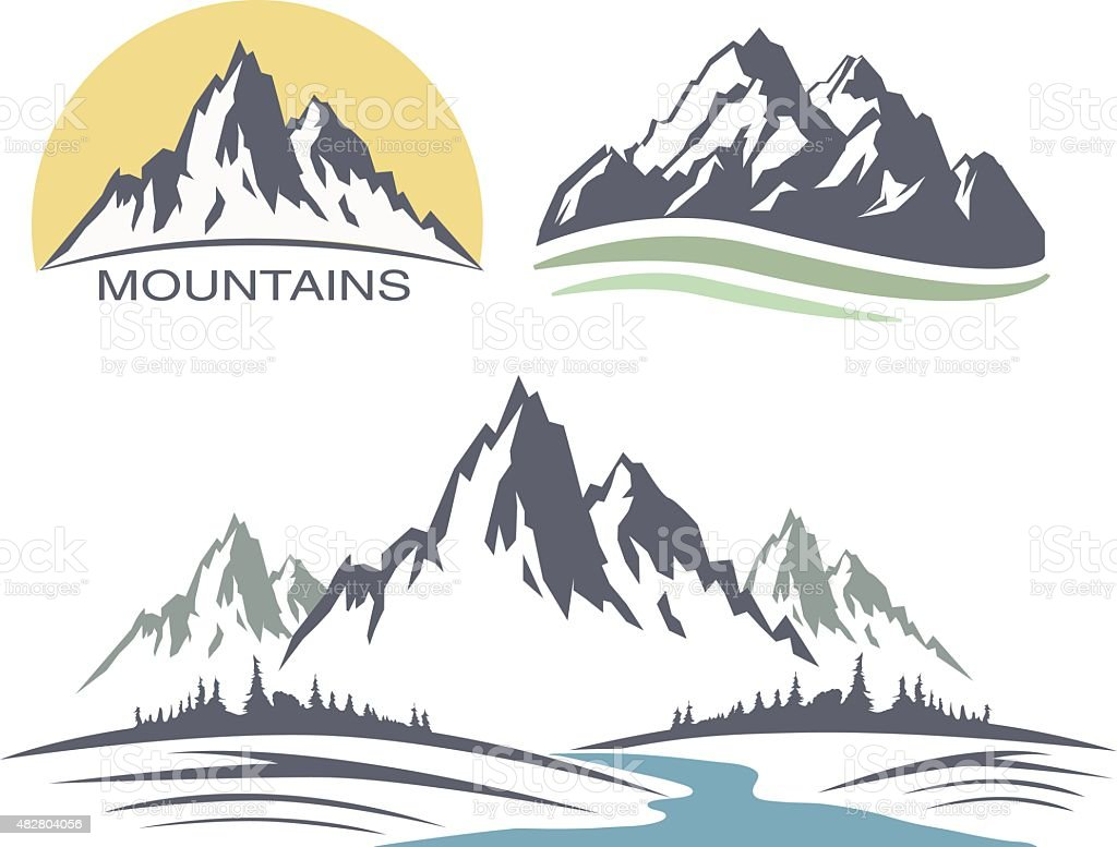 Abstract high mountain icon set vector art illustration