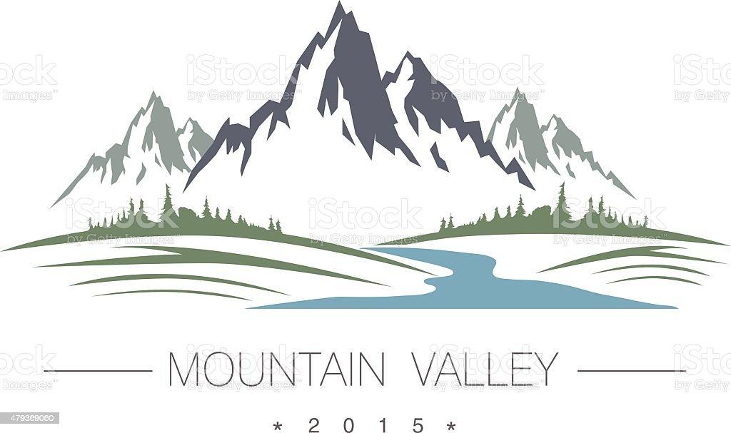 Abstract high mountain icon vector art illustration