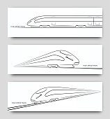 Abstract high speed train in motion. Set of modern train silhouettes, outlines, contours isolated on white background. Side and perspective view. Vector illustration