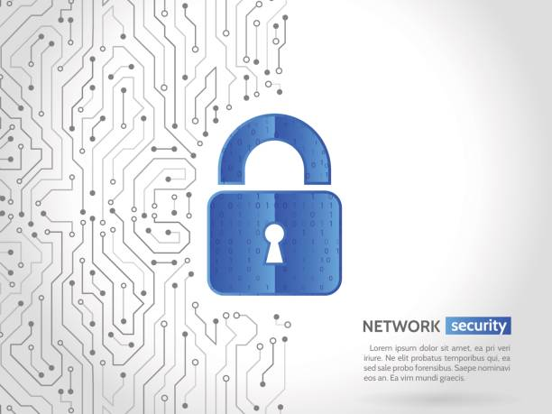 abstract high tech circuit board. technology data protection concept. digital padlock vector illustration. - cyber security stock illustrations