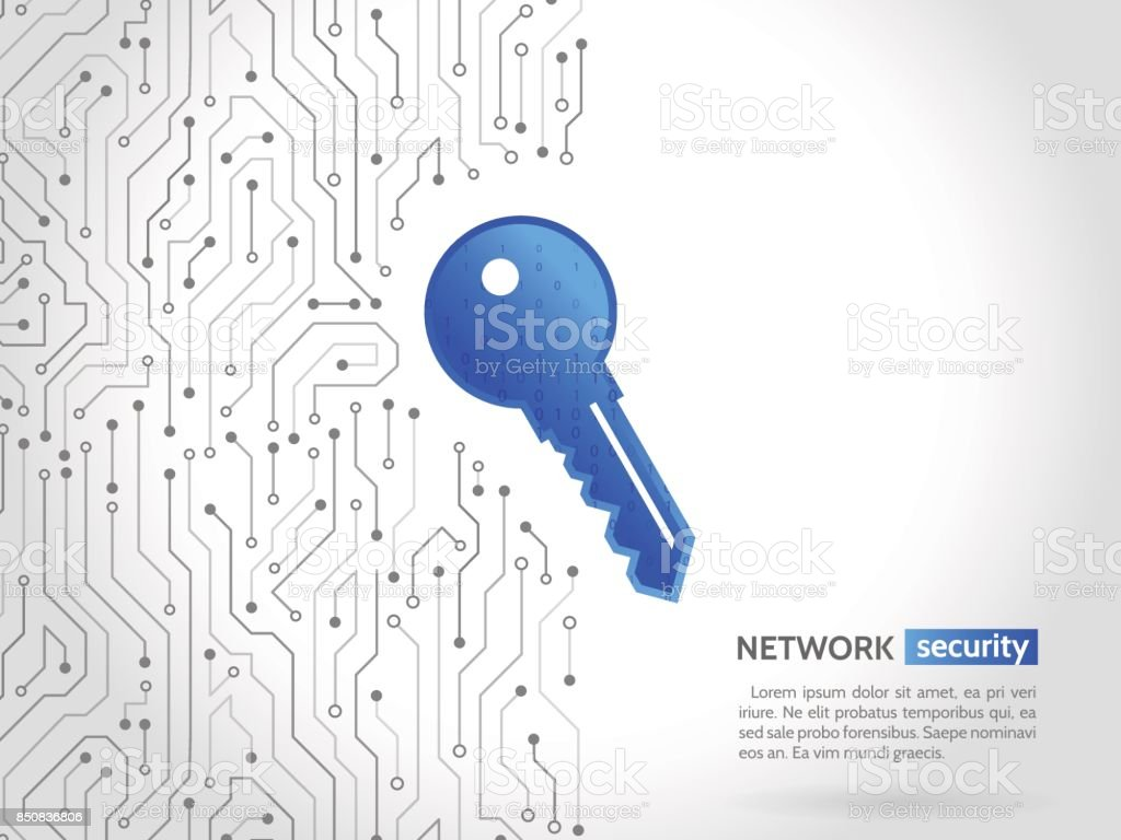 Abstract high tech circuit board with technology key. Security concept background. Cyber data security vector art illustration