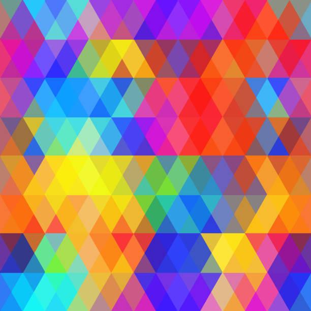 ilustraciones, imágenes clip art, dibujos animados e iconos de stock de hipsters patrón abstracto de color brillante rombo. fondo geométrico rainbow - fondos coloridos