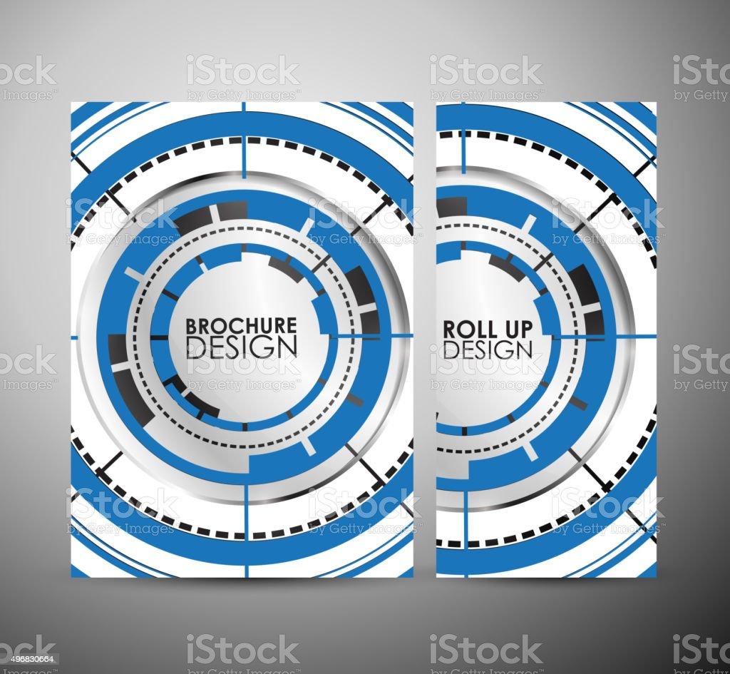 Abstract hi-tech brochure business design or roll up. vector art illustration
